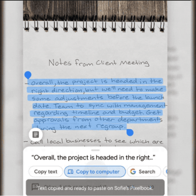 Google Lens can now copy and paste handwritten notes to your computer