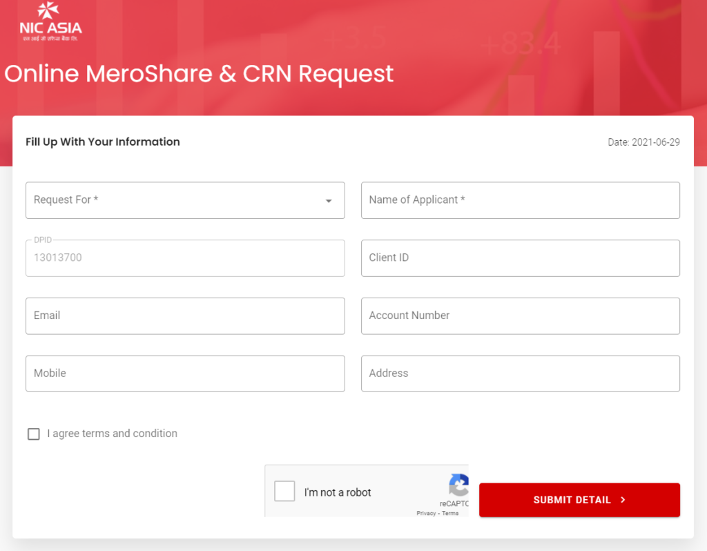 Online Mero Share CRN Request Form