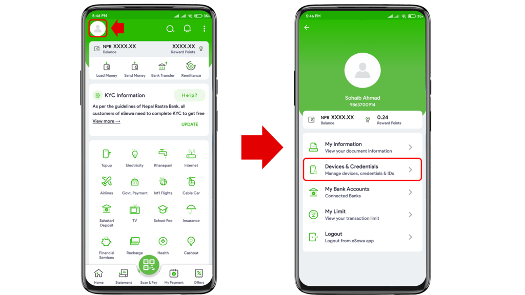 How to Change Phone Number in eSewa