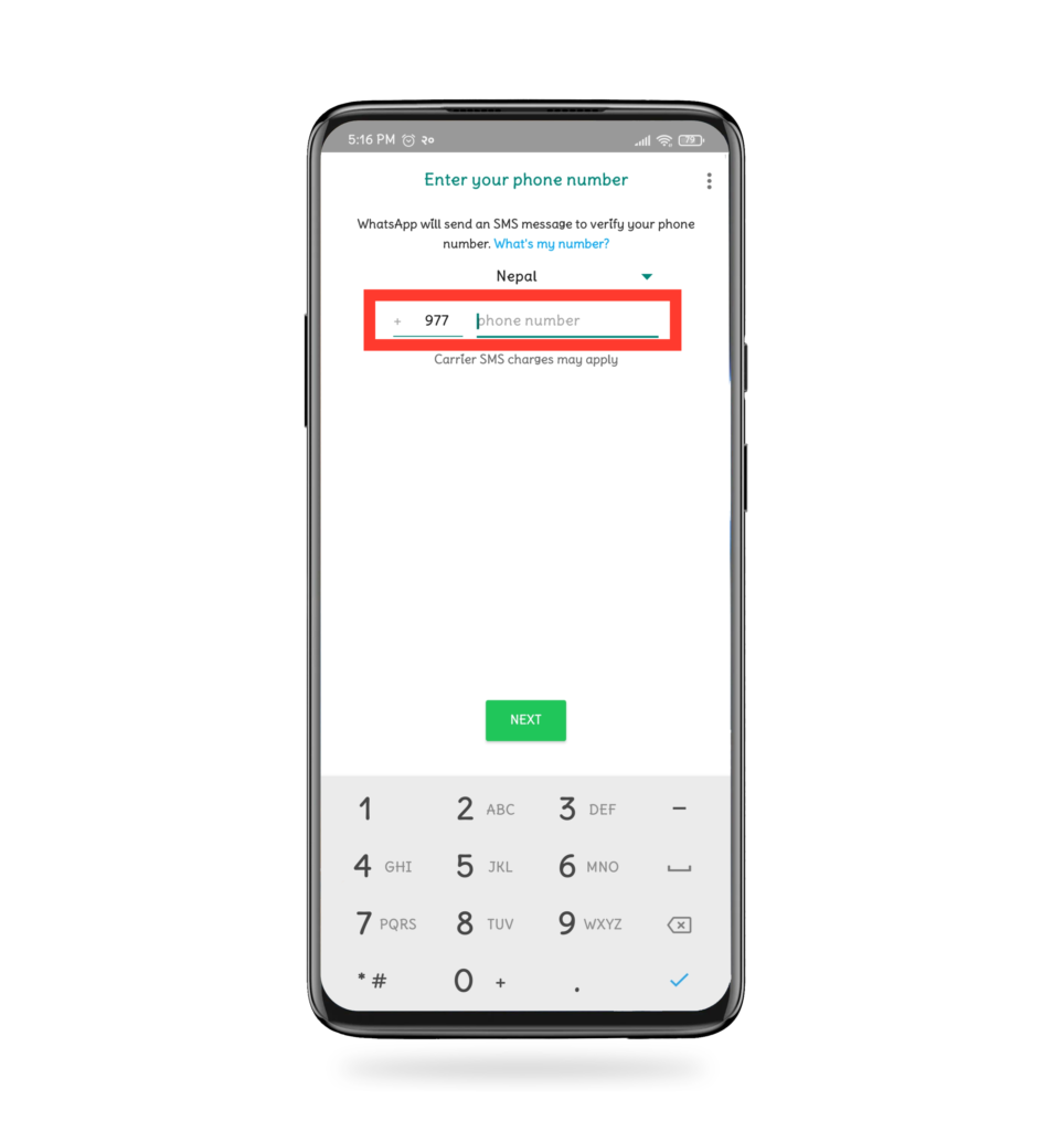 enter phone number in WhatsApp