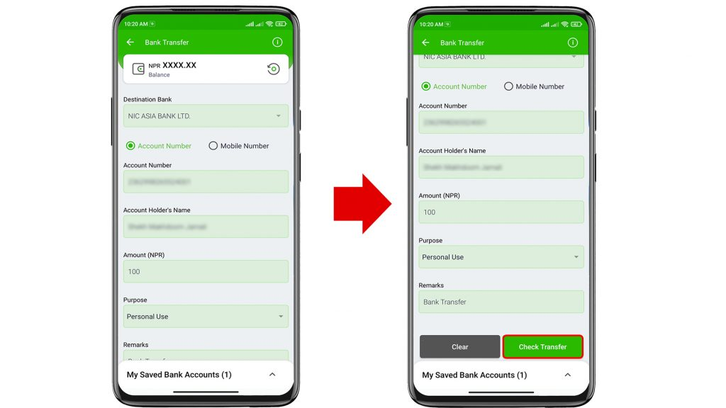 how to transfer money from esewa to bank account