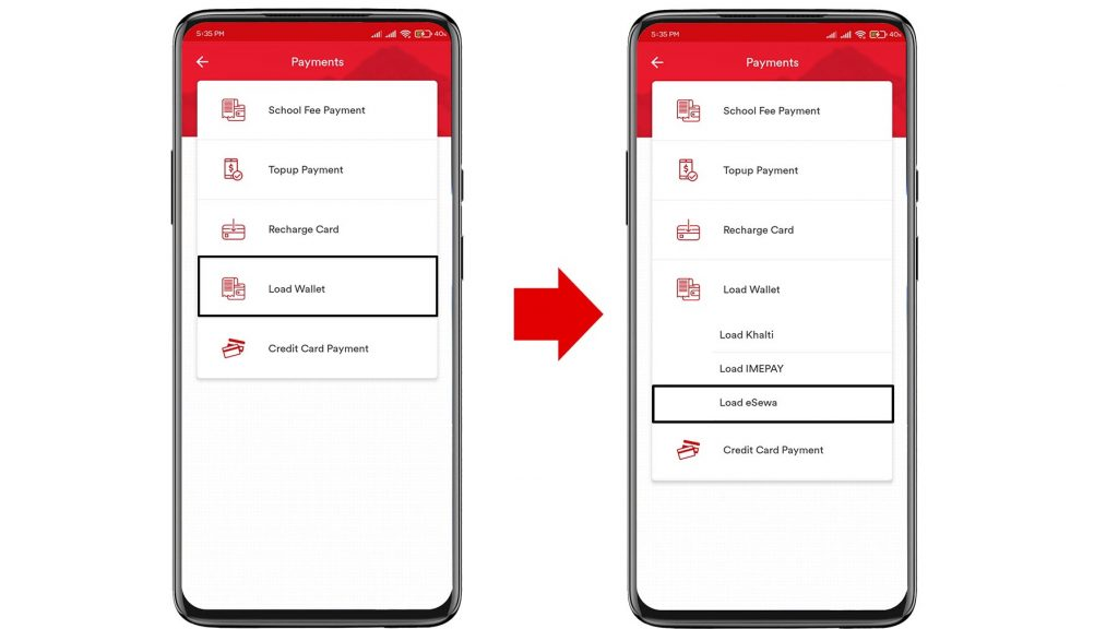 how to transfer money from bank account to esewa